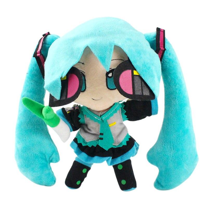 "1 pieza 9,5 ""24cm Miku Hatsune Vocaloid de juguete japonés de personaje de animé de felpa de juguete sonrisa Hatsune Miku envío gratis"