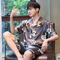 men sleepwear summer pajamas cartoon pajama loose version set plus size xxxl silk short sleeved shorts suit