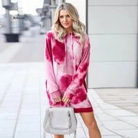 new tie dye printed long sleeved sweater dress 2021 fallwinter mid length hooded pullover casual loose dress women