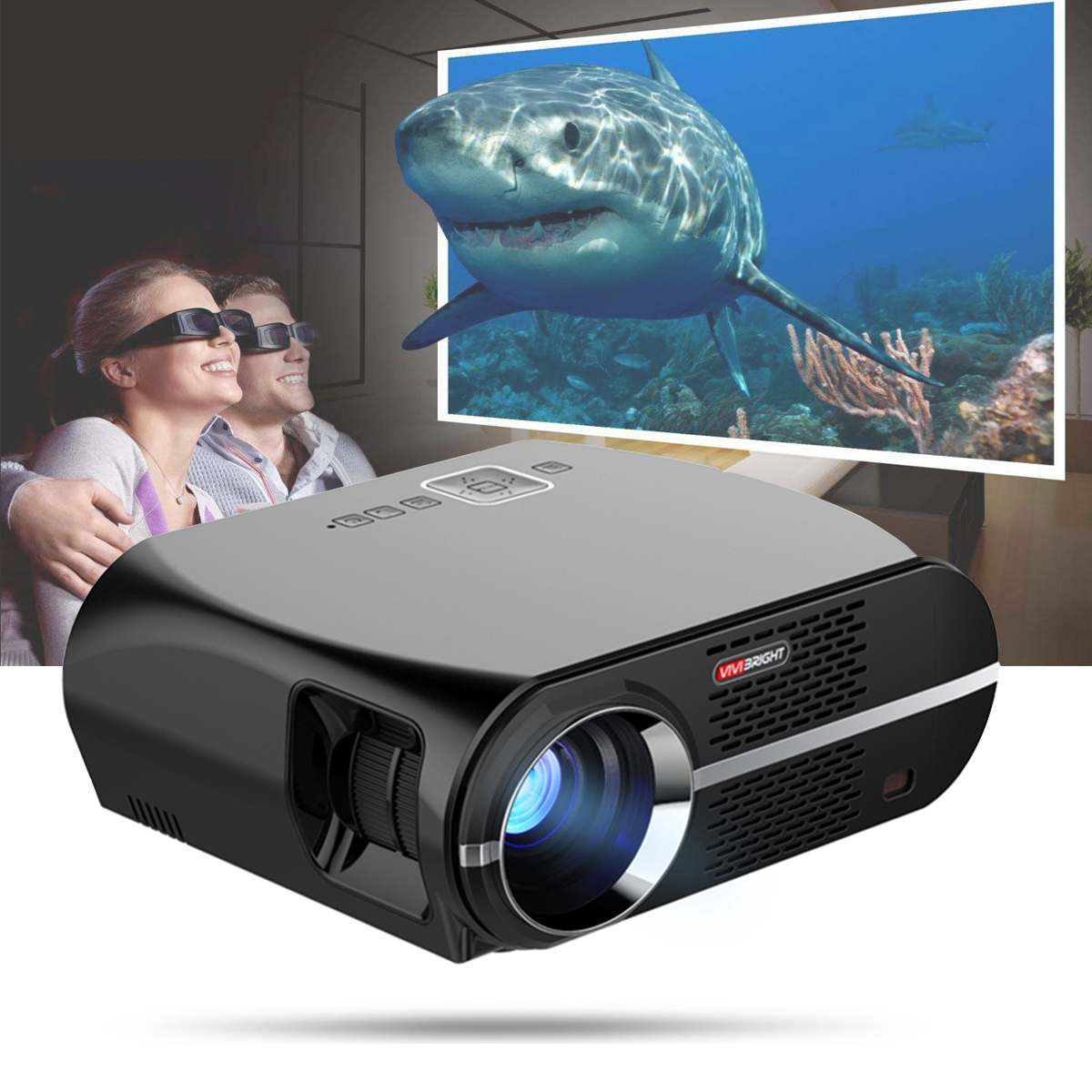 Vivibright gp100up hd android projetor 4k wifi bluetooth inteligente led 3500 lumens 1280*800p 1080p casa teatro amlogic s905x