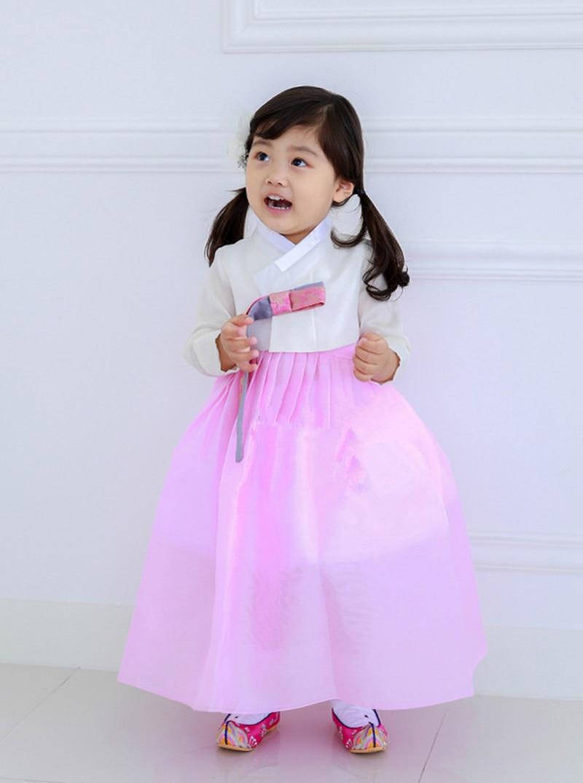 فستان رقص كوري للأطفال, فستان بناتي كوري للرقص العرقي بأكمام طويلة تأثيري عالي الجودة شحن مجاني