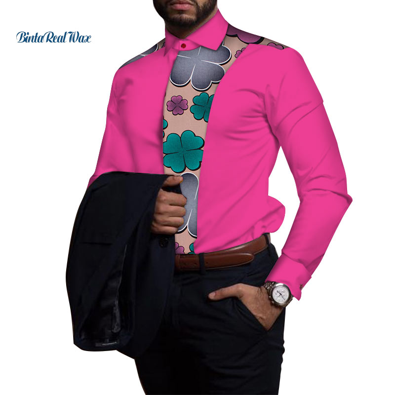 Повседневная мужская рубашка из 100% хлопка, африканская одежда, Дашики, Лоскутная рубашка с принтом, топы, базин богатый, традиционная африка...