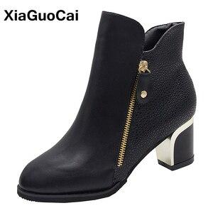 Классические женские ботильоны martin; женская обувь на высоком каблуке в британском стиле; женская обувь из искусственной кожи на молнии; сез...