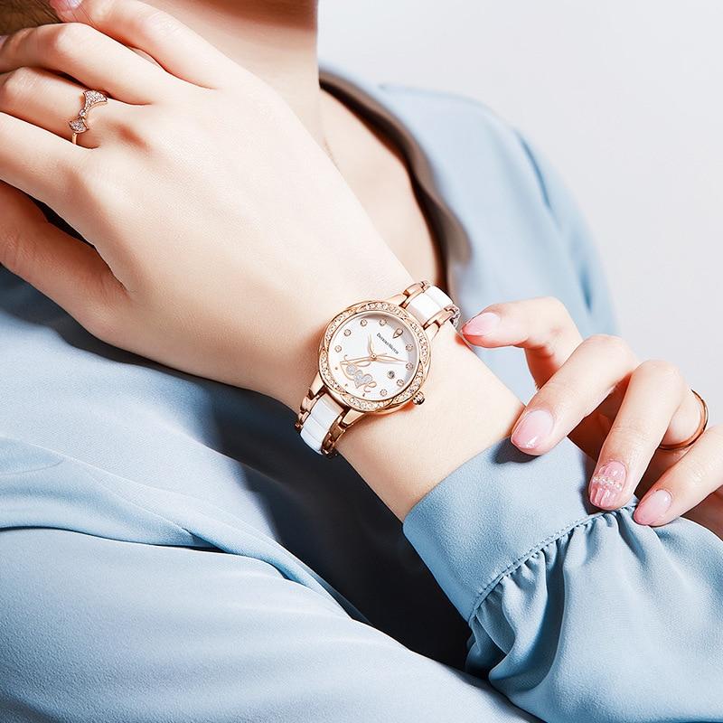 Ladies Watch Love Warm Ceramic Steel Band Calendar Luminous Quartz  Watches  Luxury  Women Fashion Ins Christmas Gift enlarge