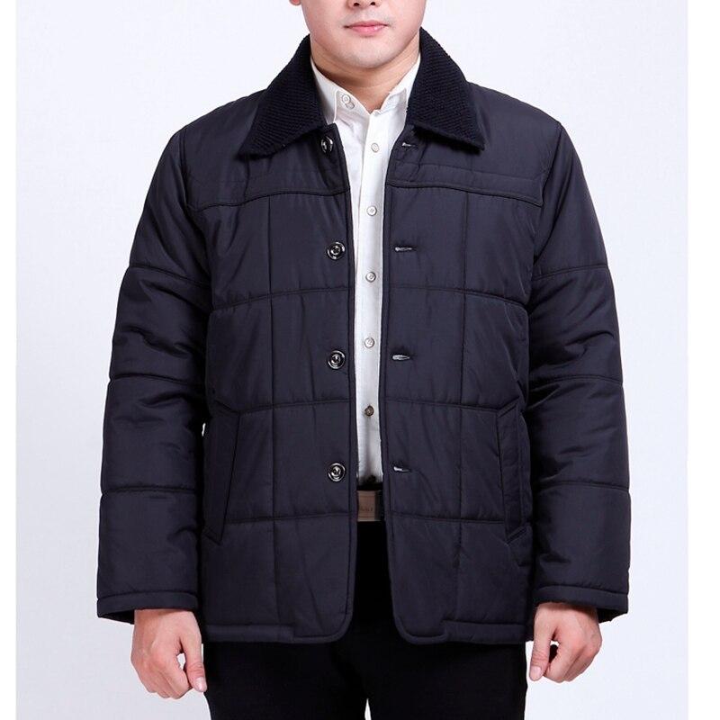 Hombres de mediana edad y ancianos agregar fertilizante XL abrigo grueso de invierno botón abajo algodón papa gordo chico cálido Chaqueta de algodón 120 kg