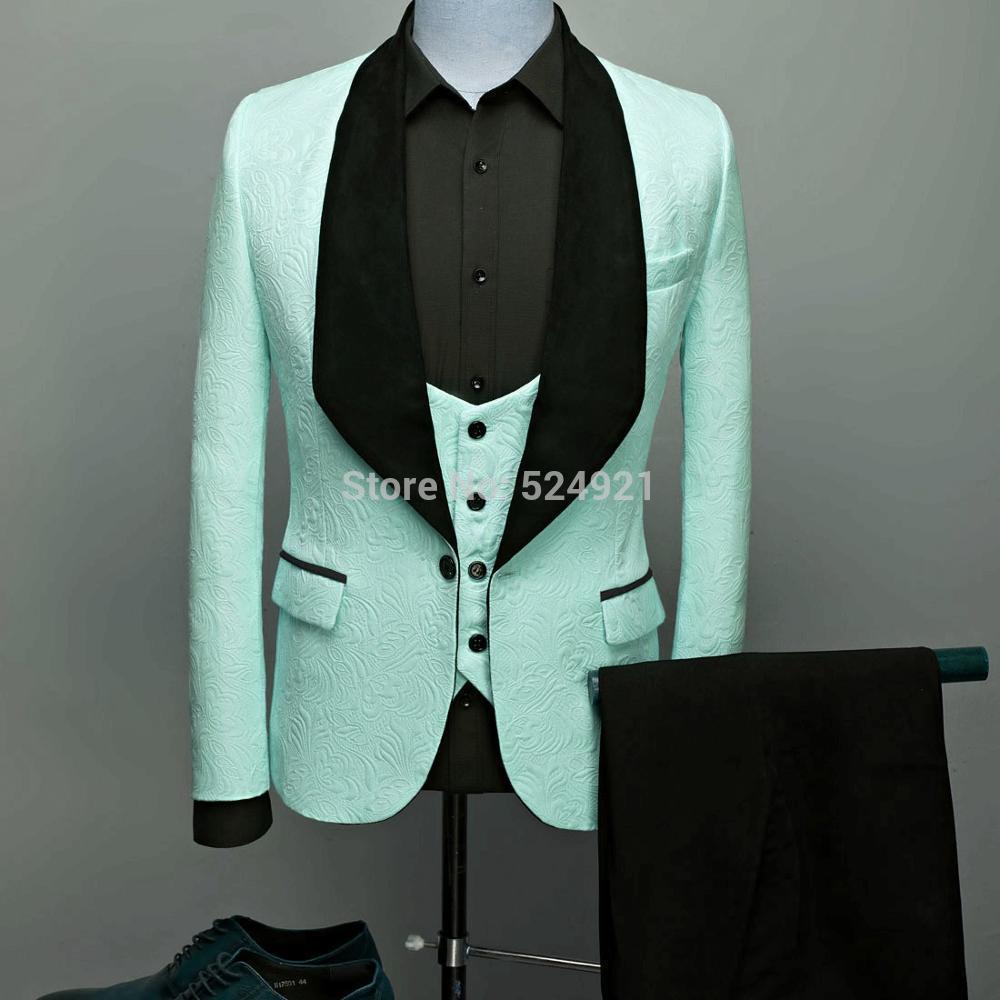 Trajes para hombre verde menta púrpura y Negro novio esmoquin chal solapa satén padrino de boda (chaqueta + Pantalones + chaleco + corbata) C726