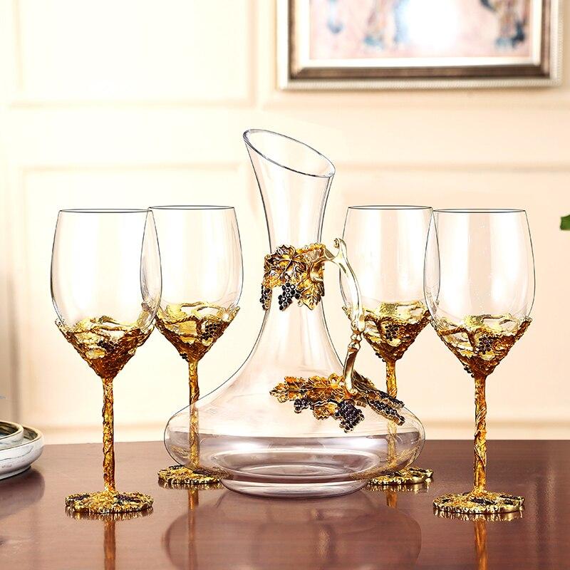 Europäische Emaille Rotwein Glas Tasse Goldene Retro Kristall Champagner Gläser Für Hochzeit Party Geschenk Mit Geschenk Box Party Drink
