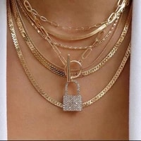 layered crystal lock chain necklace 2021 girls cute necklace set claviclel chains women female fashion choker neck jewelry