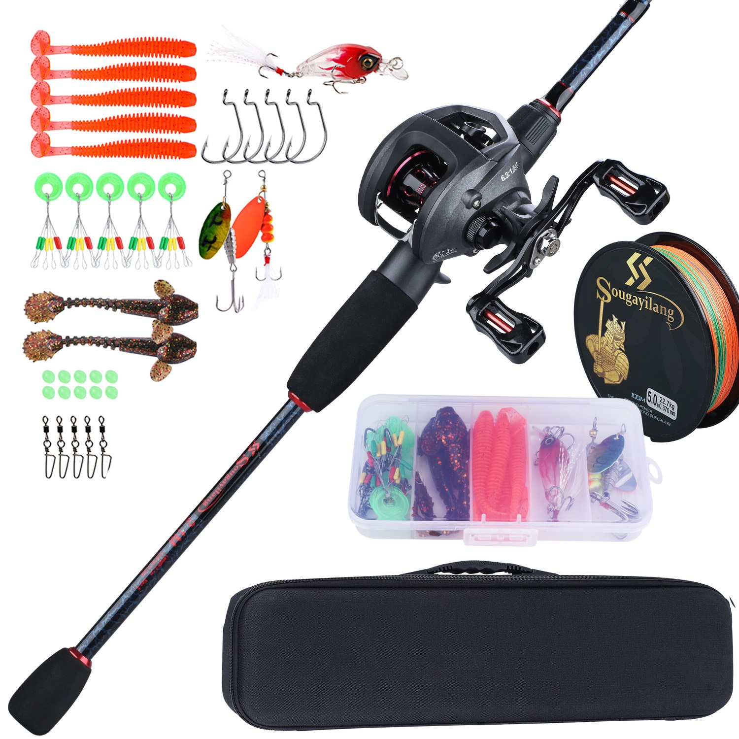 high quality 1 65m telescopic lure rod set casting spinning rod fishing reel fishing rod reel line lures hooks portable bag Sougayilang Fishing Rod Full Kits Casting Fishing Rod and Baitcasting Reel Fishing Lure Hooks Line Bag Travel Fishing Rod Combos