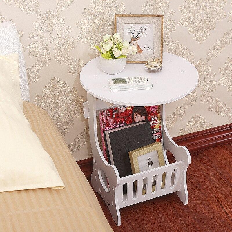 Duas camadas mini branco plástico redondo mesa de chá café casa sala estar armazenamento rack mesa cabeceira