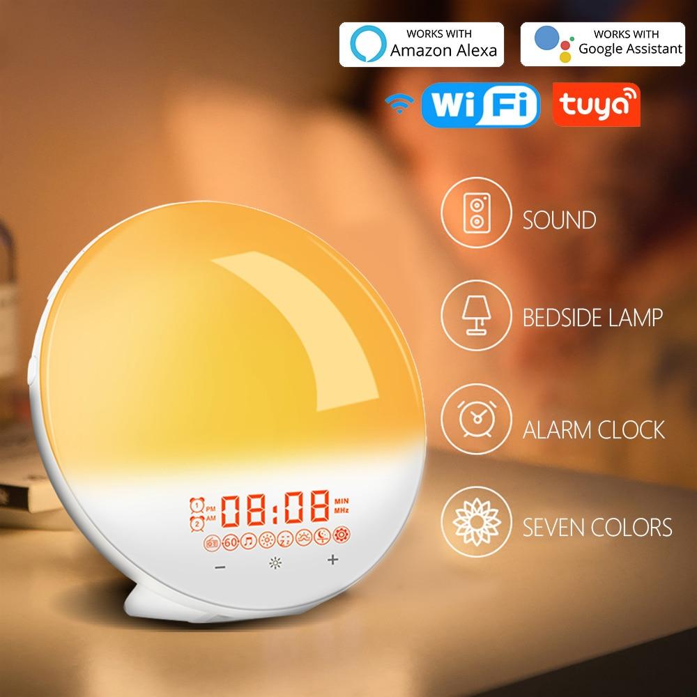Wake Up Light Sunrise Alarm Clock WiFi Smart 7 Colors Sunrise/Sunset FM Radio Digital Nightlight Clock For Alexa Google Home