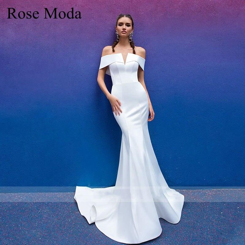 Rose Moda قبالة الكتف حورية البحر فستان الزفاف مع تنورة قابلة للإزالة الوجهة فستان زفاف مخصص
