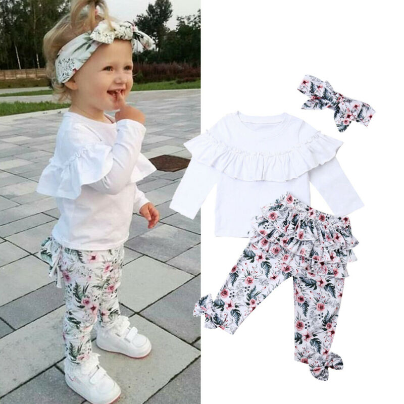 Toddler Kids Baby Clothing Set Solid Top Print Pant Girl Ruffle Floral Tops Pants Leggings 3pcs Outfits Clothes 1-5 Years