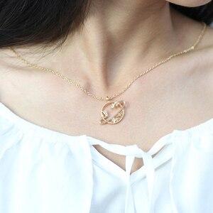 Модное простое ожерелье с подвеской из окружающей планеты, Женская цепочка до ключиц, подарок подруге на день рождения, ювелирное изделие, ч...