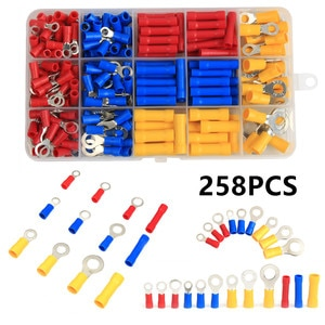 258PCS Assorted Ring Butt Wire Crimp Terminals Insulated Electrical Wire Cable Crimping Connector Kit AWG22-10/0.5-6.0mm2
