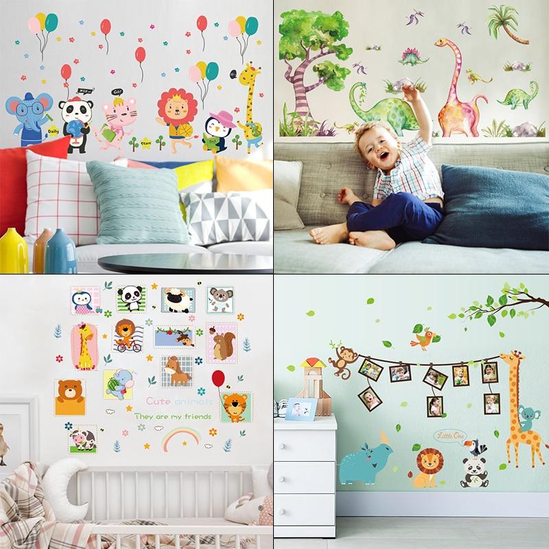 1 Set Creative Cartoon Series Cartoon Animal Removable Vinyl Wall Stickers Kids Favor Baby Shower Boys Bedroom Cute Art Decals