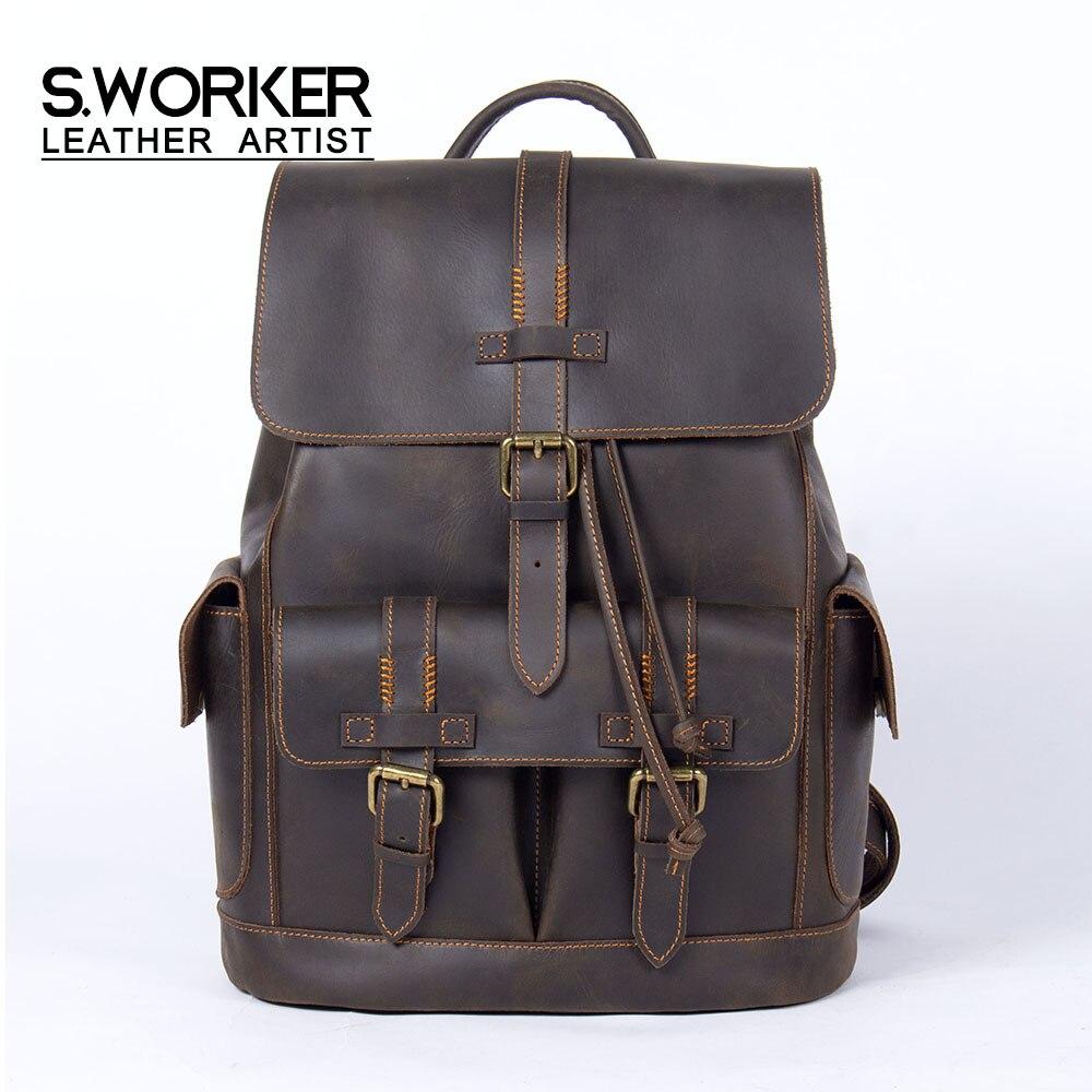 S.WORKER Mochila De Cuero Vintage Crazy Horse, bolso de viaje de grano completo para ordenador portátil, bolso escolar, bolso de hombro clásico para exteriores Weekender