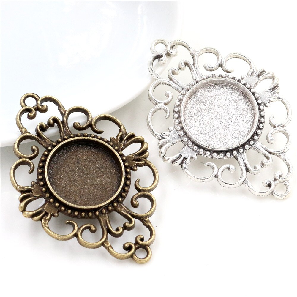 10pcs 18mm Inner Size Antique Bronze And Silver Plated Connection Style Cabochon Base Cameo Setting Charms Pendant