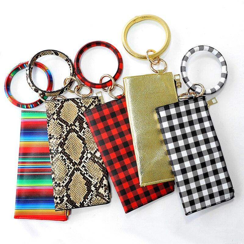 1 Uds de las mujeres de la moda de cuero de la PU O llavero leopardo llavero círculo bolso bolsa de color sólido Multi-llaveros con estilo de regalo de la joyería
