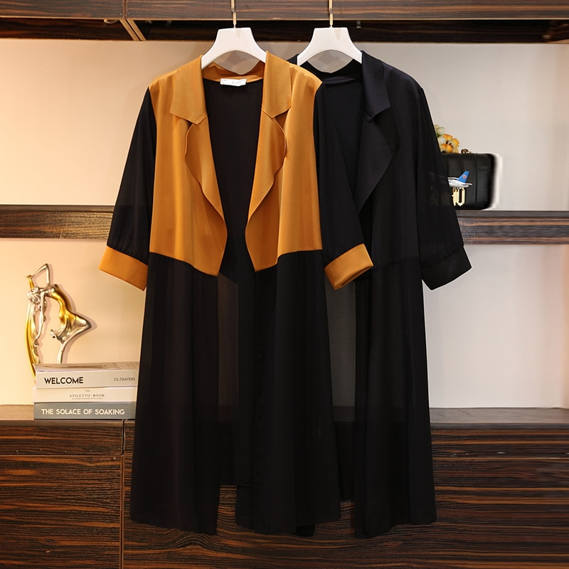 2021 Autumn Clothes plus Size Women's Clothes Sister Fashion Slimming Mid-Length Cardigan Trench Coa