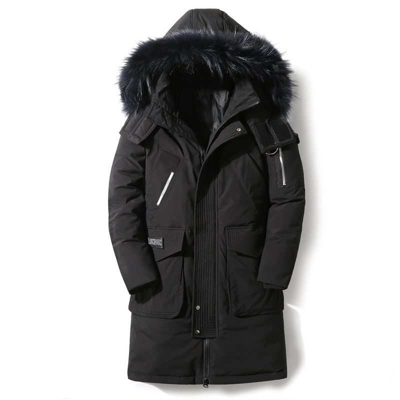 Men's 90% winter jacket windproof men's down windbreaker jacket with detachable large fur collar to keep warm and thick