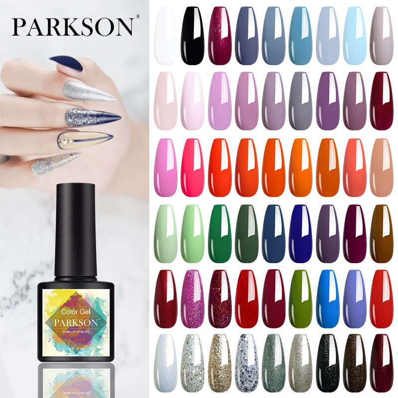 Parkson New Glitter Color Series Gel Nail Polish 8ml Soak Off UV LED Nail Art Manicure Lacquer Varnish 114 Colors Gel Lak Primer недорого
