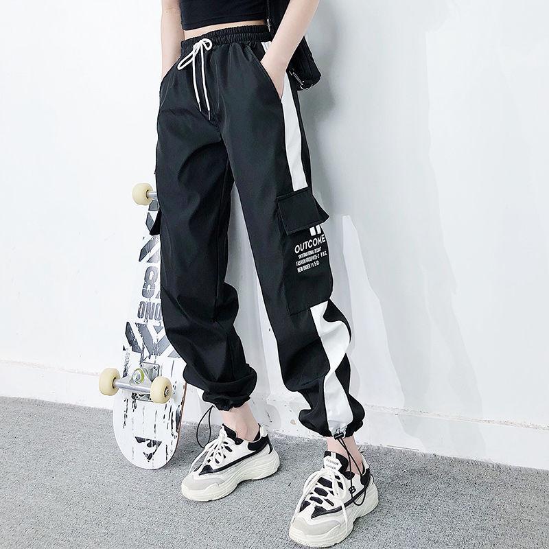 2021 cargo pants summer women High waist loose joggers streetwear punk black capris trousers Korean Harem Pants