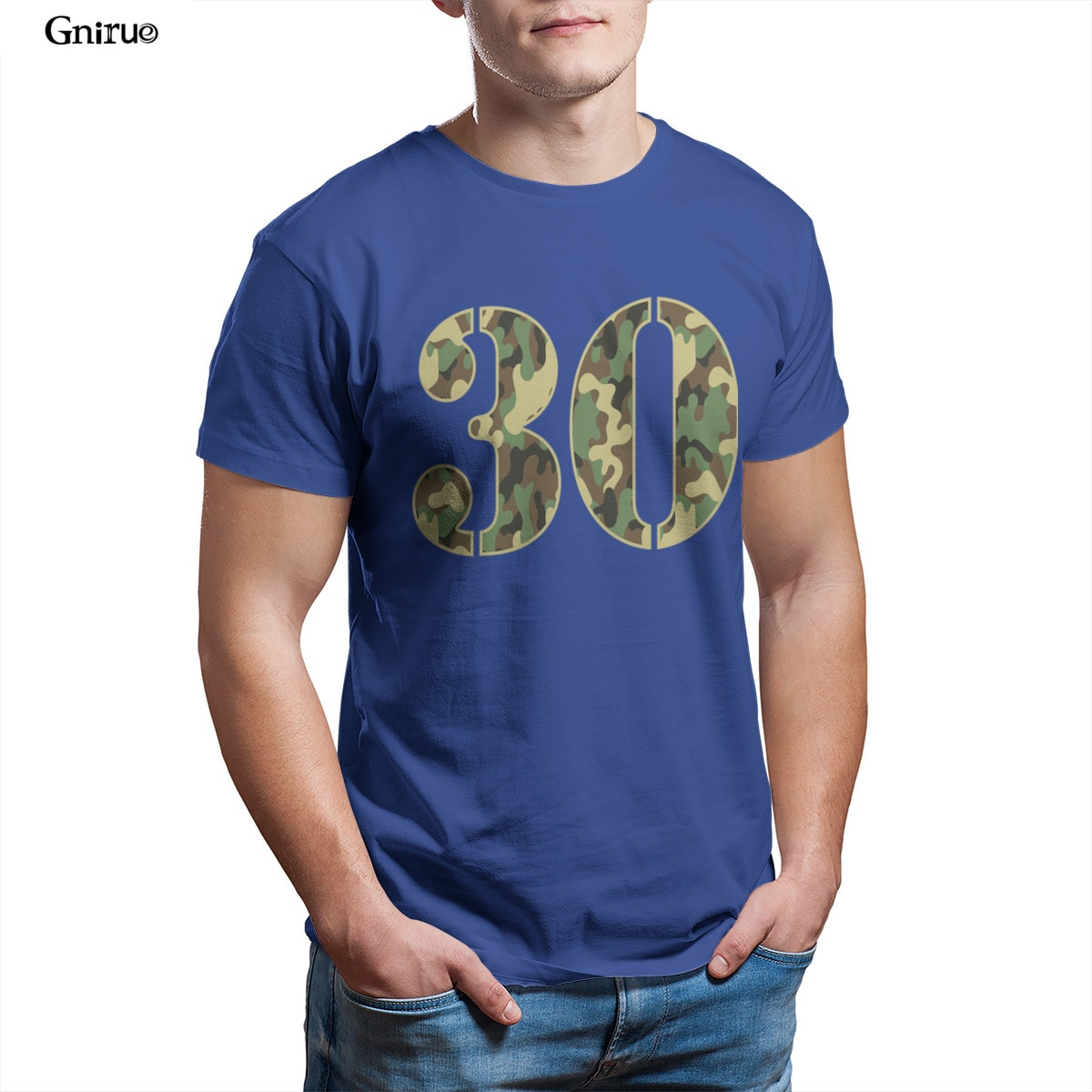Wholesale 30th Birthday Soldier Number 30 Year Old Camo Mens V-Neck T-Shirt Games Short Sleeve Woman Unisex 90s Tees 83842
