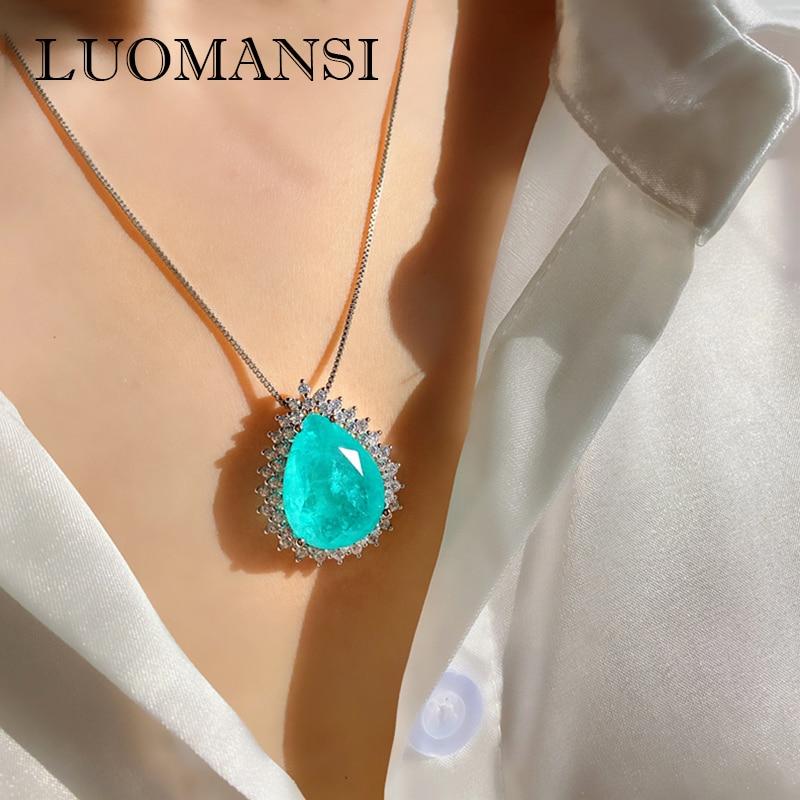 Luomansi-قلادة على شكل قطرة ماء للنساء ، قلادة ، أحجار كريمة ، تورمالين ، الزمرد ، مجوهرات راقية ، حفلة ، زفاف ، بيع بالجملة