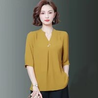 5xl oversize women spring summer style chiffon blouses shirts lady casual half sleeve v neck loose style blusas tops