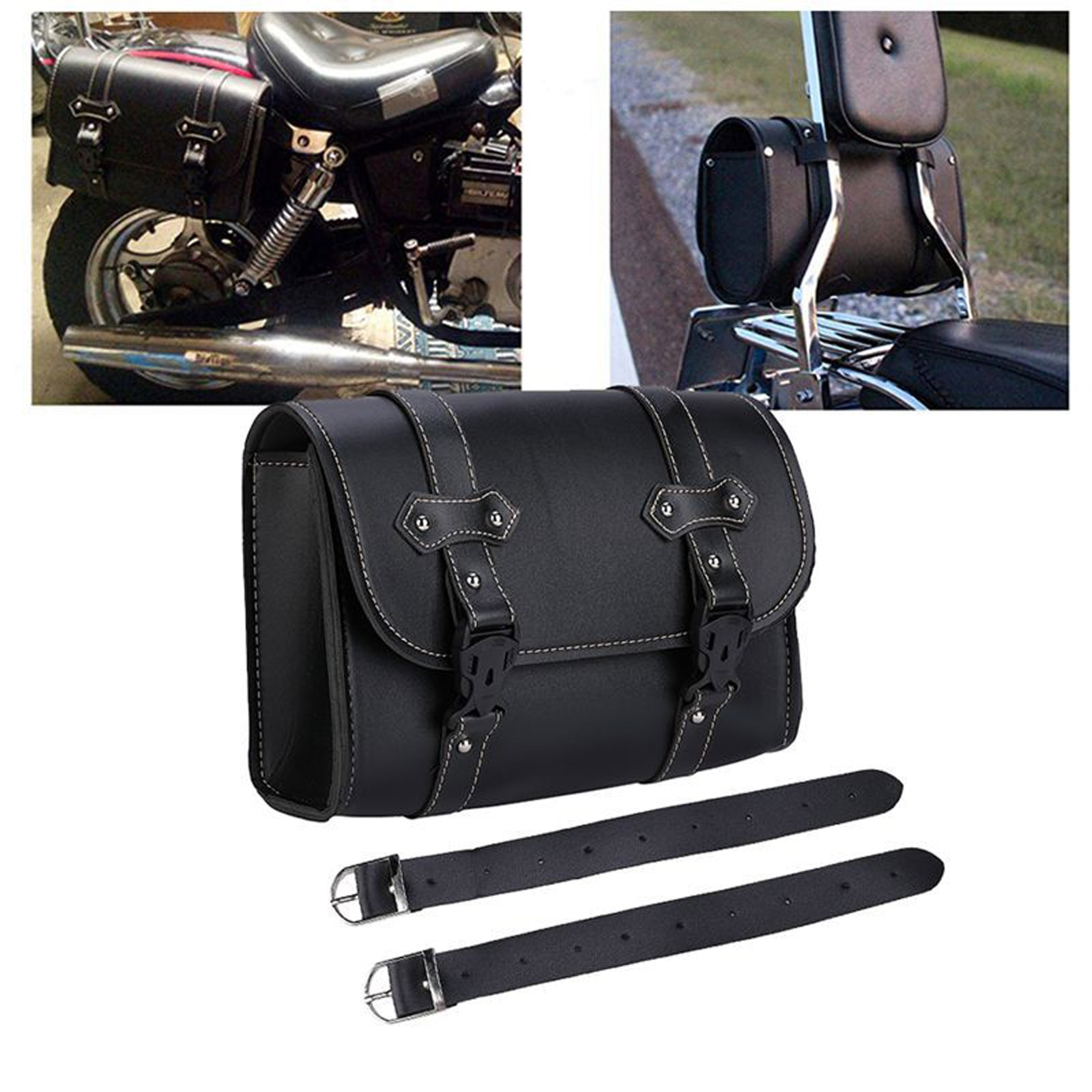 pu leather saddlebag motorcycle saddle bags l Black Universal Motorcycle Saddlebag PU Leather Waterproof Luggage Saddle Bag Storage Tool Pouch For Sportster XL883 XL1200