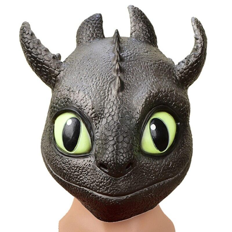 Cómo entrenar a tu dragón Cosplay sin dientes de la noche Fury Gronckle Terror horrible máscara de cabeza completa de Halloween accesorios de fiesta cabeza de látex las máscaras