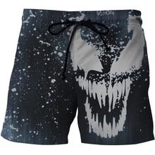 2020 Fashion Marvel Short Trunks Mens Venom 3D Print Beach Shorts Sport Streetwear Pants Casual Swimwear Board Shorts Bottoms