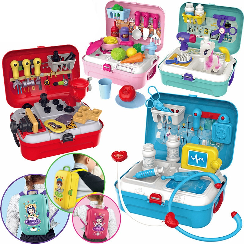 Детский рюкзак, игрушки для ролевых игр, коробка для инструментов для ремонта кухни, магазин косметических пластиковых обучающих игрушек д...