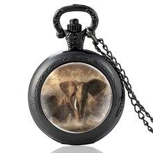 Büyük fil tasarım Charm Vintage kuvars cep saati erkekler kadın sarkaç kolye saat hediyeler