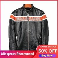 2021 black genuine leather jacket men motorcycle style stand collar plus size 5xl real natural cowhide slim fit short biker coat