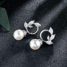 UILZ élégant rond Imitation perle boucles doreilles cubique zircone boucles doreilles pour les femmes de mode boucles doreilles de mariée en gros UE2416
