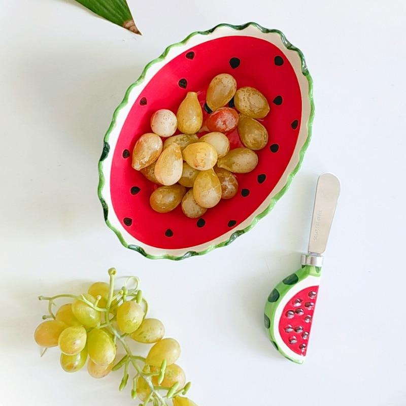 Hand painted ceramic wave edge watermelon rice bowl fruit bowl creative salad bowl dessert bowl LB11272 watermelon cup rice bowl