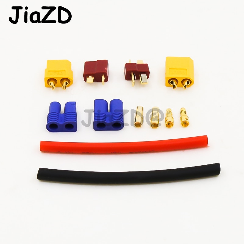 Deans T Plug EC3 XT60 Male Female Adapter Connector with 14AWG Silicone Wire / Heat Shrink Tubes for RC FPV Drone Lipo Battery enlarge