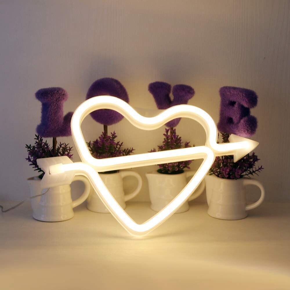 Arco do cupido do diodo emissor de luz sinal em forma de decoração luz coração noite lâmpadas amor marquee carta sinal presentes para a festa de aniversário natal crianças quarto
