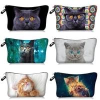 cute cat series pattern cosmetic storage bag makeup organizers zipper bags portable wash bag travel handbag