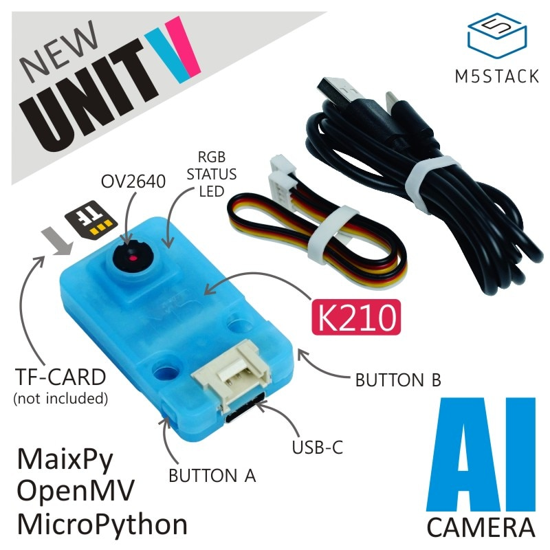 M5Stack официальная UnitV AI камера от Kendryte K210 двухъядерный 64-разрядный RISC-V CPU ConvolutionalNeural сетевой процессор
