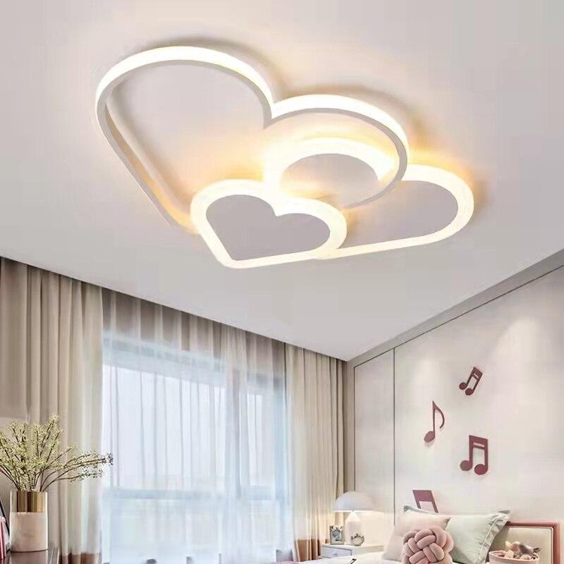 غرفة الأطفال LED ضوء السقف الحديثة الاطفال الطفل غرفة نوم دراسة تركيبات الإضاءة الإبداعية الأبيض الوردي الحب مصابيح السقف