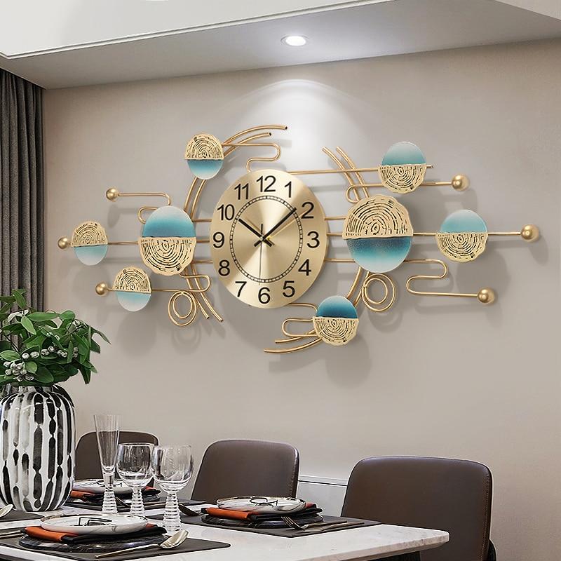 De Oro Reloj De Pared artístico hermoso De lujo silencioso creativo Reloj...