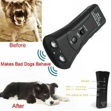 LED 초음파 3 1 안티 짖는 훈련 Repeller 제어 트레이너 애완 동물 강아지 Repeller 중지 나무 껍질 훈련 장치 트레이너 #