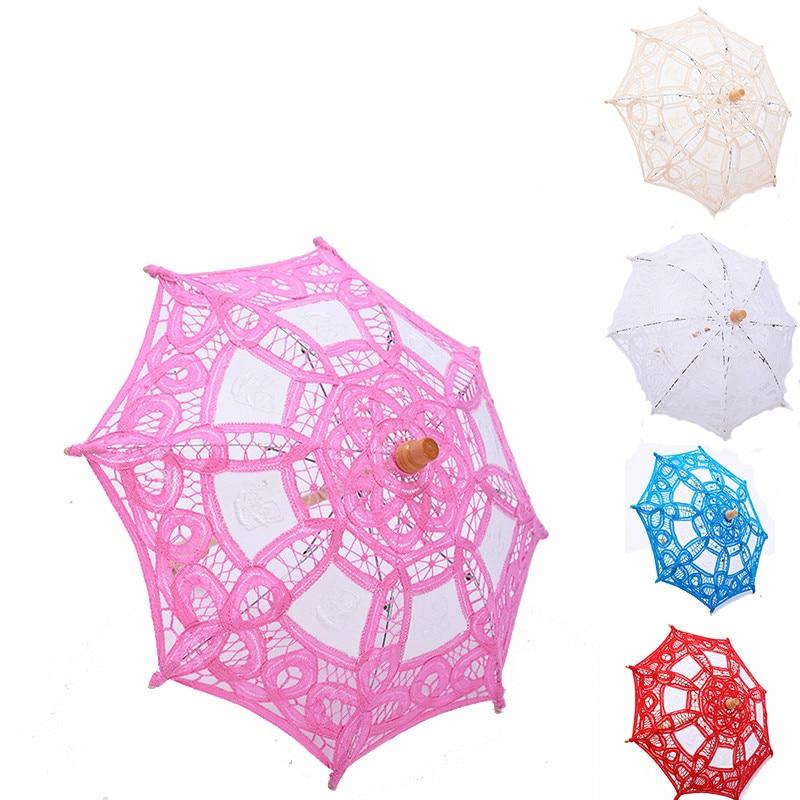 Sombrilla pequeña de encaje para niños, paraguas de Boda blanco, rosa, rojo...