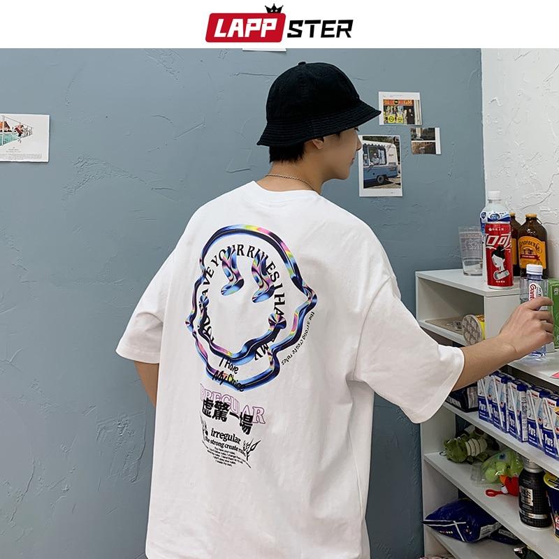 LAPPSTER summer men japanese streetwear white tshirts 2020 mens smile harajuku fashions hip hop t-shirts male vintage tees