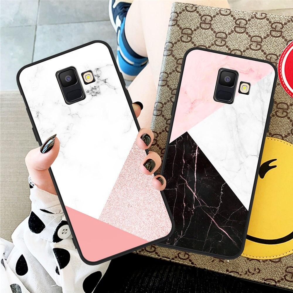 Fashion Geometric Art Marble Stone Case TPU Cover For Samsung A20 A30 A40 A50 A70 A80 A90 A5 A6 A7 A8 A9 A10 J4 J5 J6 J7 J8 Plus