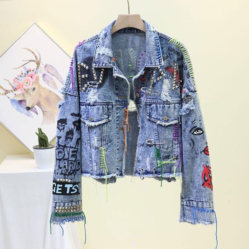 Chaquetas Mujer 2019 Punk Denim Mujer chaqueta de remache Graffiti Jean mujeres...