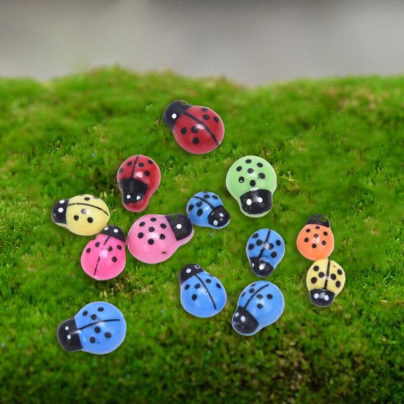 10 unidades/pacote mini plástico joaninha auto-adesivo ladybird micro paisagem decoração mini frigorífico ímãs